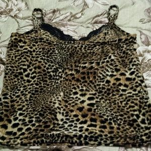 In Charge Tops - Cute Vintage 90's Fuzzy Leopard Print Shirt